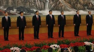 File photo: members of China's Politburo Standing Committee, from left, Zhang Gaoli, Liu Yunshan, Zhang Dejiang, Xi Jinping, Li Keqiang, Yu Zhengsheng and Wang Qishan in Beijing's Great Hall of the People, 15 November 2012