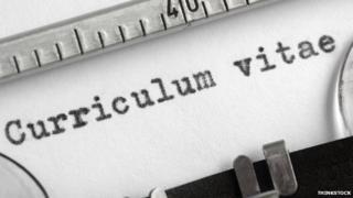 Curriculum vitae written on a typewriter