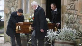 Coffin at Jack Alexander funeral