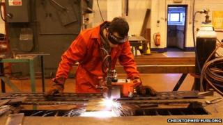 Boy welding