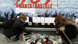 Tributes left to Marcus Toledano at the Palais des Sports. 9 Nov 2013