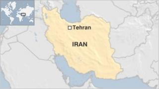 A map of Iran showing Tehran