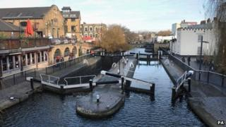 Camden Lock on the Regent's Canal in north London