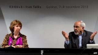 Catherine Ashton and Mohammad Javad Zarif after the talks in Geneva (10 November 2013)