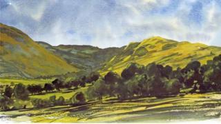 Prince Charles' painting of Cwm Berwyn
