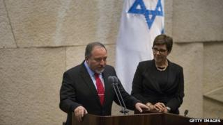 Avigdor Lieberman is sworn in as Israeli Foreign Minister during a special Knesset session on 11 November 2013