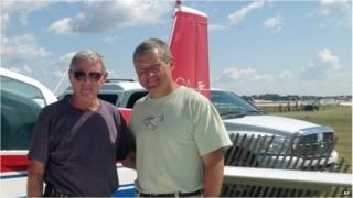 Sen James Inhofe (left) and his son, Perry Inhofe, in Oshkosh, Wisconsin