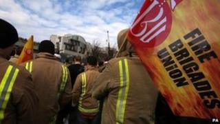 Firefighters attending a union rally