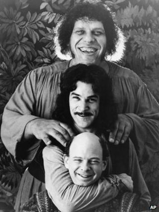 Andre the Giant, top, Mandy Patinkin, and Wallace Shawn in The Princess Bride