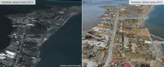Before and after - Airport area in Tacloban