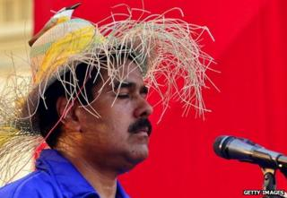 Maduro in bird hat on the campaign trail