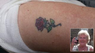 Jean Cook with her tattoo