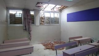 School in Damascus damaged in a mortar attack