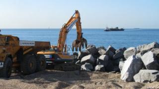 Work on the sea defences