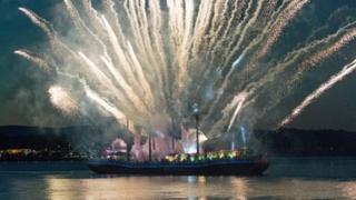 Fireworks on river Foyle
