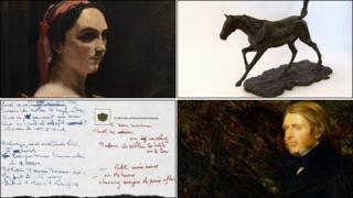 Corot's Italian Woman; Degas' Horse Galloping on Right Foot; portrait of John Ruskin by John Everett Millais; postcard from John Lennon