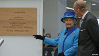 The Queen and Prince Phillip at The Co-operative Headquarters