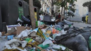 Rubbish on the streets of Madrid