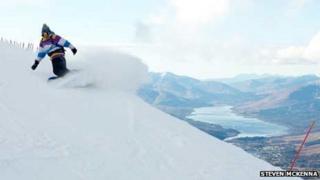 Snowboarder at Nevis Range