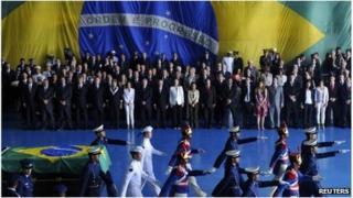 Brazilian ex-President Joao Goulart's remains honoured in Brasilia, Brazil