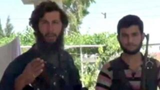 An photograph purportedly showing Ahrar al-Sham fighter Mohammed Fares (left)
