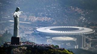 Christ the Redeemer and the Maracana stadium in Rio de Janeiro