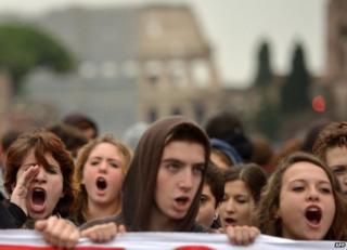 Student protesters in Rome, 15 November