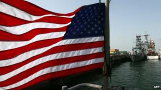 US flag flies at Bahrain's Salman Port in Manama (12 May 2013)