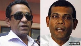 Abdulla Yameen (left) and Mohamed Nasheed (right)