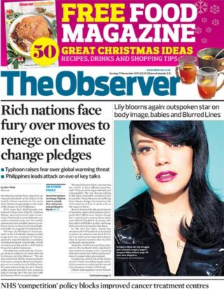 Observer front page 17/11/13