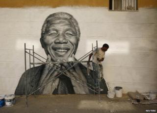 A street portrait of Nelson Mandela in Lisbon, Portugal, June 2013