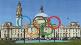 How the Olympic rings will look outside Cardiff City Hall
