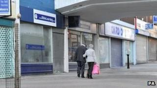Street of vacant shops