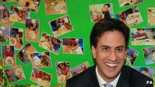 Ed Miliband on a visit to Learning Ladders Nursery in south London