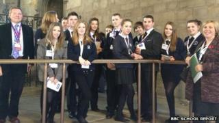 Tim Fenton with the Holbrook Academy School Reporters in Westminster Hall