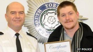 Stephen Thacker receives bravery award from South Yorkshire Police