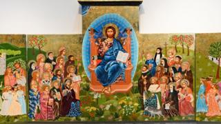 Triptych on display in Tewkesbury Abbey