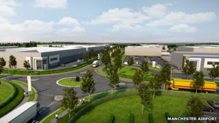A CGI image of the south site of the Airport City development, which will become a world logistics hub