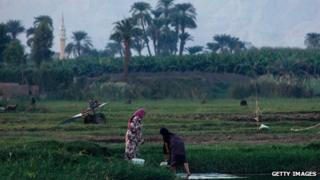 Women working by the bank of the River Nile near Luxor