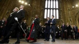 David Cameron and Ed Miliband in central lobby