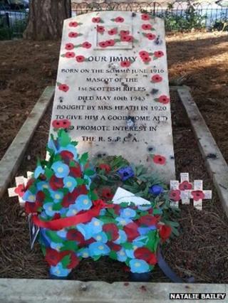 """Donkey"" wreath on memorial"
