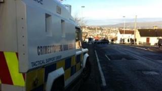 Police at scene of Gobnascale alert on Friday morning