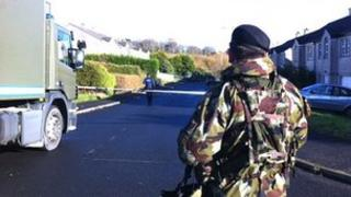 Irish security forces at the scene of the explosion