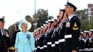 Governor-General Quentin Bryce is greeted by the Royal Australian Navy at Garden Island (October 2013)