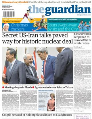 Guardian front page 25/11/13