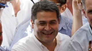 The National Party presidential candidate, Juan Orlando Hernandez