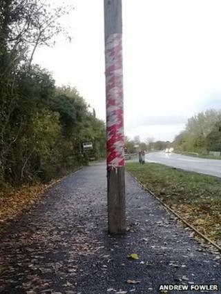 Telegraph pole on cycle path in Cambridgeshire