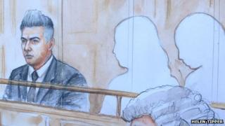 Ian Watkins, left, two female defendants