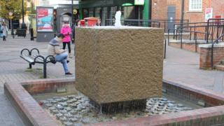 The fountain outside the post office