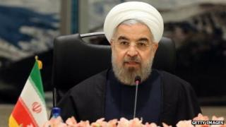 Iranian Prime Minister Hassan Rouhani speaks at a ministerial conference in Tehran on November 26.
